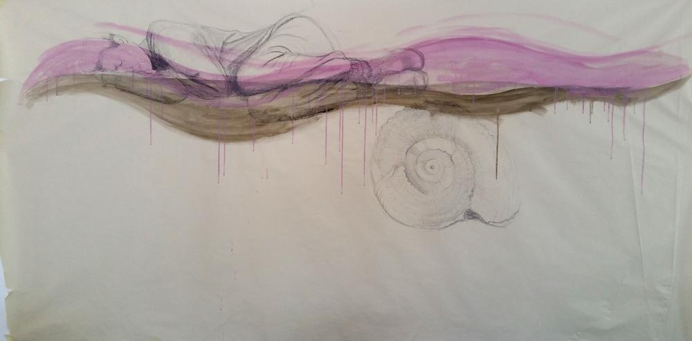 Zeichnung einer schlafenden Frau und Muschel