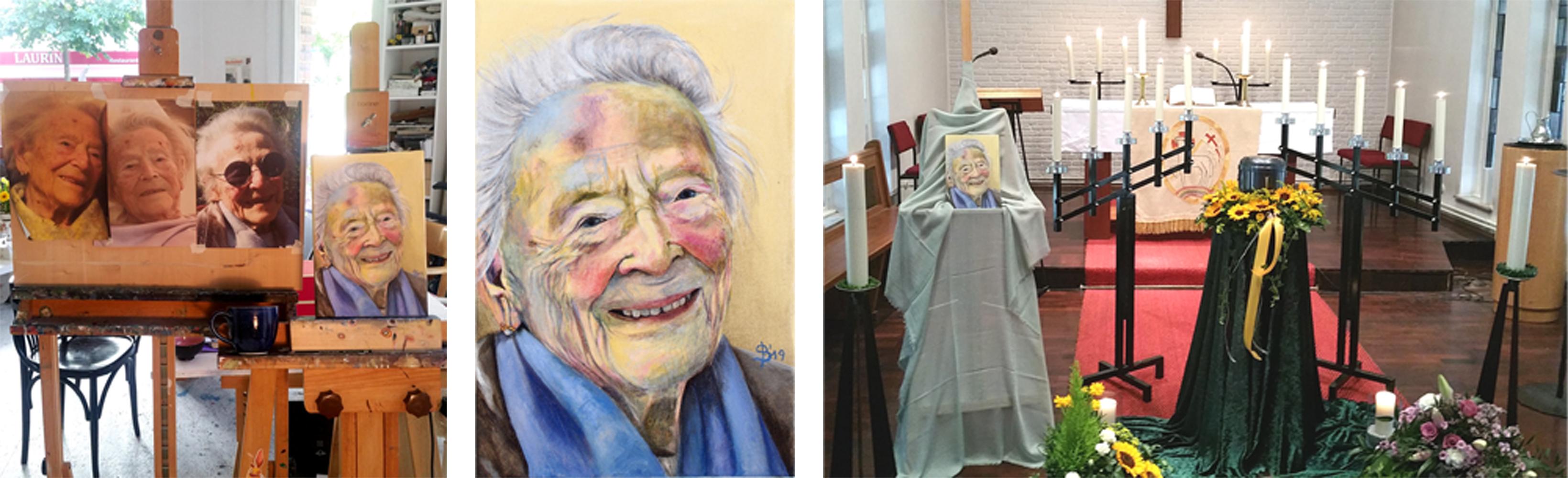 Gemälde mit Vorlagen und auf der Trauerfeier neben der Urne