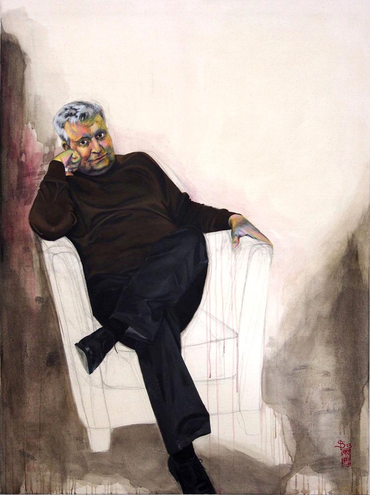 Portrait eines Mannes auf einem Sessel sitzend von Stephanie Bahrke