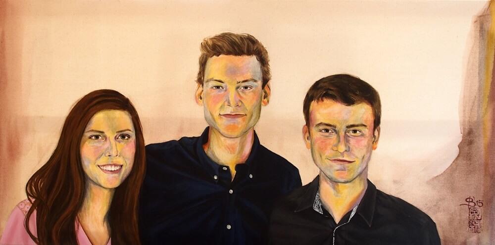 Portrait von Drillingen, gemalt von Stephanie Bahrke