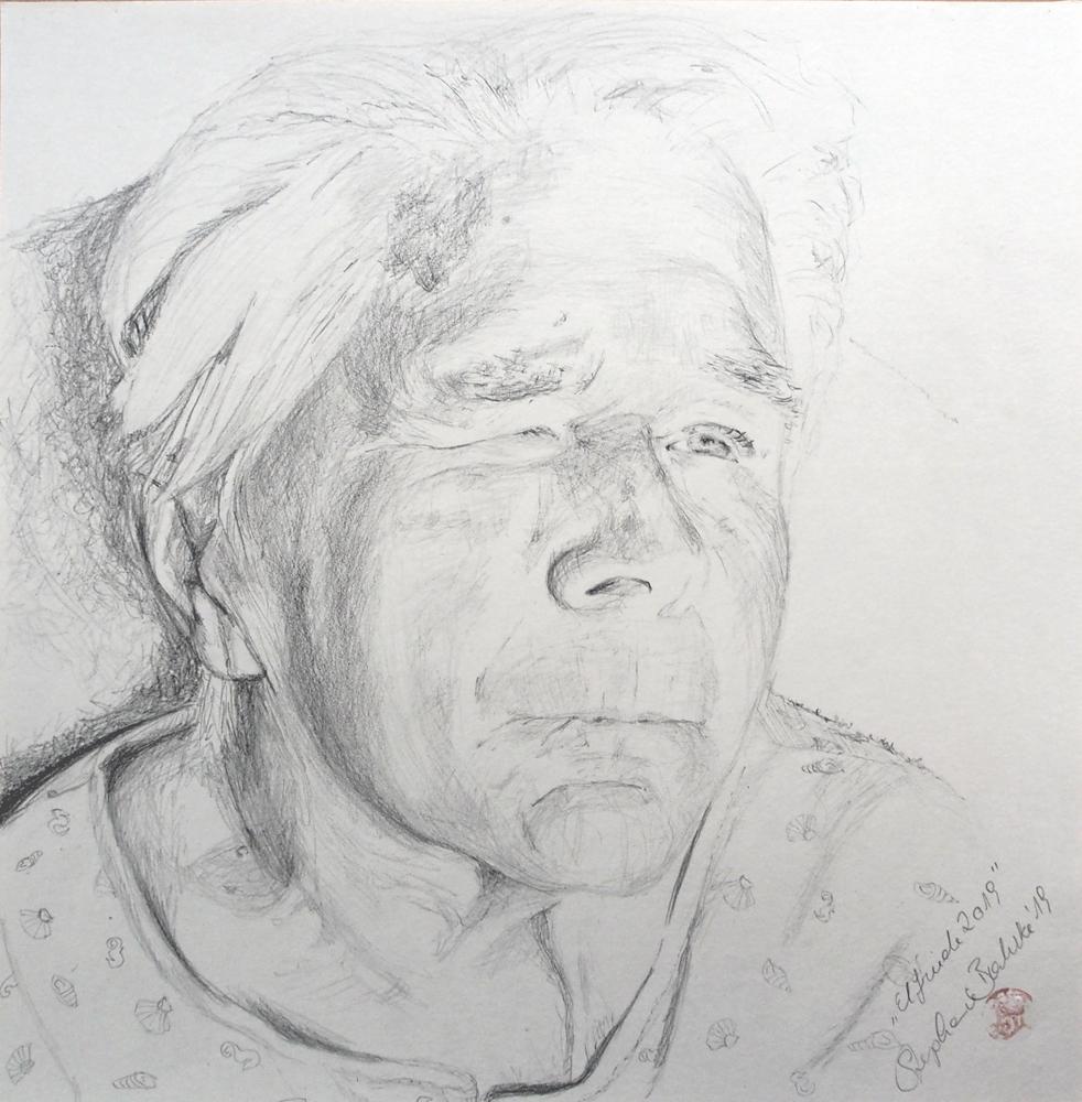 Portraitzeichnung einer dementen Großmutter von Stephanie Bahrke, Auftragsarbeit Stephanie Bahrke