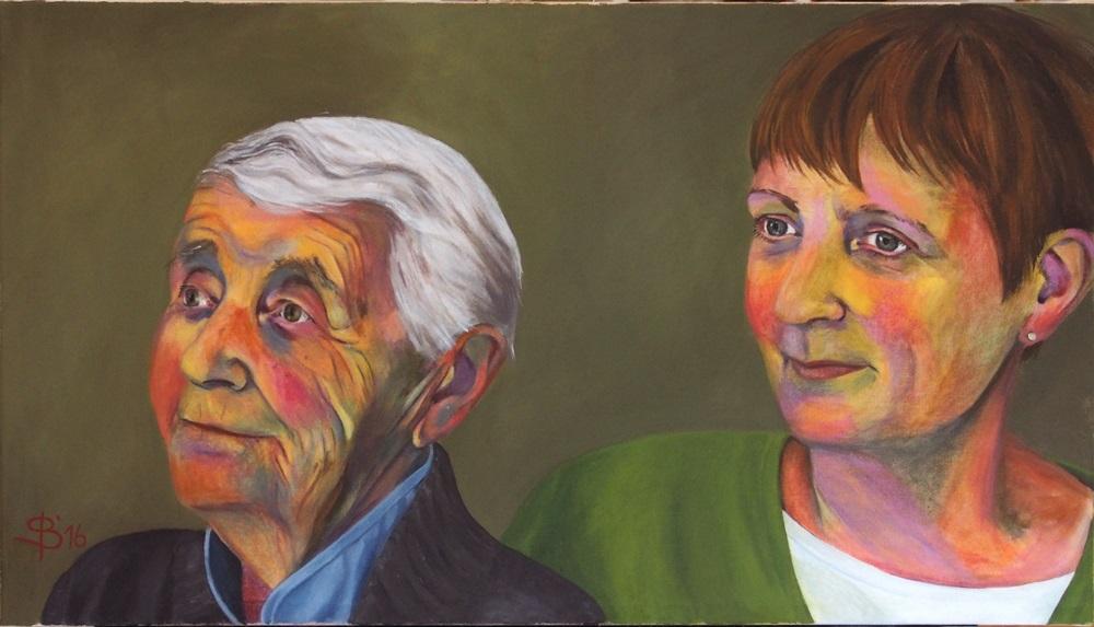 Portrait von Mutter und erwachsener Tochter, Doppelportrait in Acryl von Stephanie Bahrke