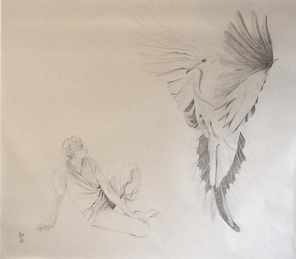 Begegnung zwischen einer jungen Frau und einer großen taube, Zeichnung von Stephanie Bahrke